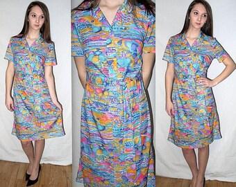Pebbles .... Vintage 60s mod day dress / 1960s abstract op art / mad men shirtwaist / waitress stewardess .. S M