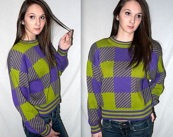 Lizzie .... Vintage 80s color block sweater / 1980s colorblock knit pullover / crop top cropped / boxy slouchy / lime purple plaid ... S M