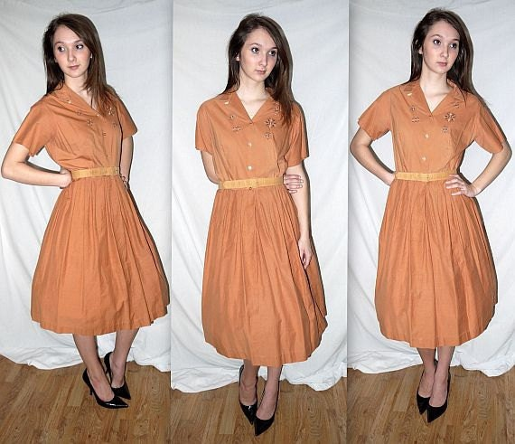 Ginger snappy ...  vintage 50s shirtwaist day dress / mad men / mid century / shirt waist / belted / loop top  .... S M / bust 38