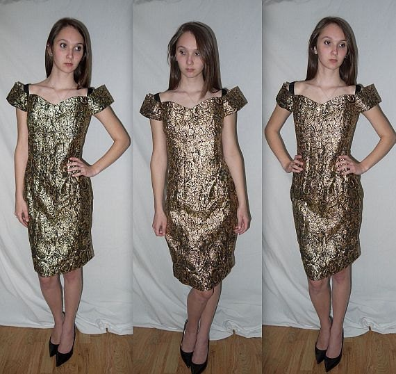 Go Glam ... Vintage 80s party dress / metallic gold / cocktail dress / formal prom / baroque fall fashion / trophy dynasty...  M / bust 36