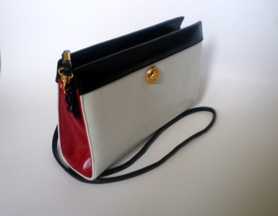 vintage 80s MONET purse handbag clutch cross body crossbody / colorblock color block / removable strap  / nautical white red black