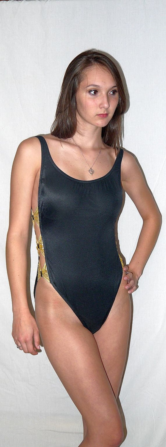 Bow Knows Vintage 80s One Piece Swimsuit High Cut