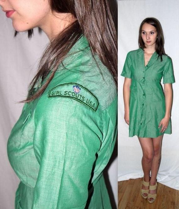 Thin Mint .. vintage 50s 60s Girl Scout mini dress uniform / day dress / mid century / shirt waist  .... XS S / bust 34