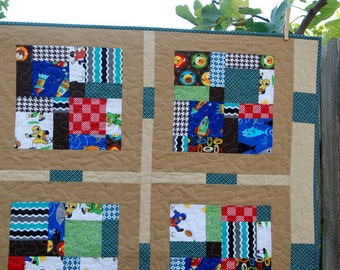 Baby Boy Crazy 9-Patch Quilt