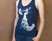 Flamenco womens t shirt tank - navy blue - screenprint - ladies X Large - dancer - womens tank top - Spanish t shirt