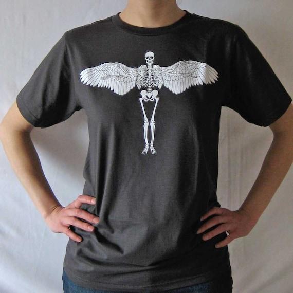Flying Skeleton graphic t-shirt - charcoal gray - silkscreen - unisex - men - women - Small, Med