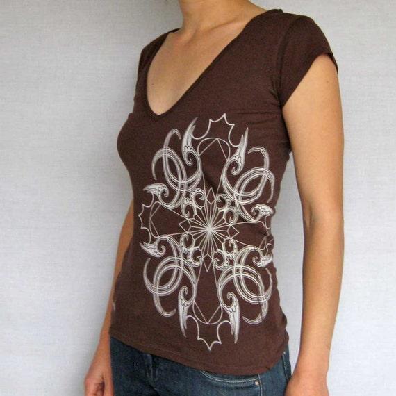 Thunderbird womens t shirt - SALE - ladies chocolate v-neck tee - Last One - adults Large - womens mandala t shirt - tribal tshirt