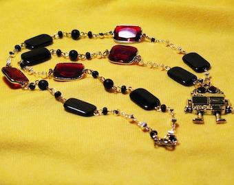Sparkling robot necklace
