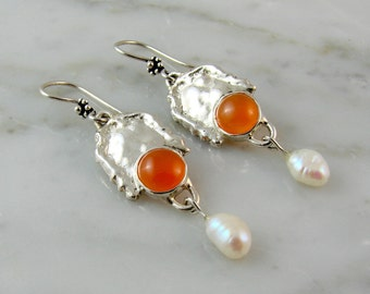 Melted Edge Sterling Silver Earrings with Orange Chalcedony and Dangling Freshwater Pearls.
