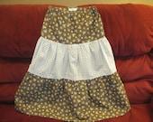 Prudence Girls 3 Tiered Prairie Long Peasant Skirt sz 10/12 Brown/Blue