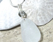 Natural Maine Sea Glass Necklace - Swarovski Crystal, Fresh Water Pearl and Sterling Silver Wire