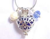 Blue Sea Glass Filled Locket Necklace