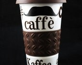 Travel Mustache Mug For Coffee Lover One Sided brwon Lid and Sleeve-Handpainted