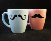 Kiln Fired Mustache Mug set of 2 Baby Pink and Baby Blue -Handpainted