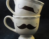Kiln Fired  Brown Mustache set of 2 Tan Color Mug -Handpainted