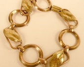 Vintage Rose Gold and Yellow Gold Filled Bracelet, Leaf Motif with Oval and Round Links, 20th Century