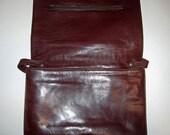 Designer Bamberger's Vintage 1970s Leather Handbag Envelope Maroon Burgundy