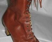 Size 11WW Vintage Granny Boots Cognac Brown Leather 1980s