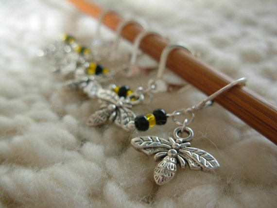 Removable Stitch Markers Bees - 5 Bumble Bee Stitch Markers for Crochet and Knitting