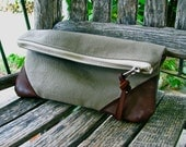 Heavyweight Cotton and Leather Clutch Purse