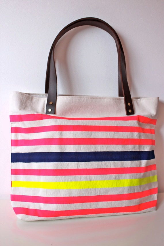 Neon and Neutral Canvas Tote Bag with Leather Handle in----pink-navy-lemon-