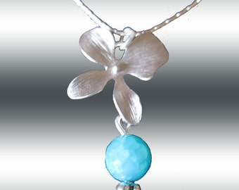 Teal Blue Natural  Agate Orchid Flower  Necklace