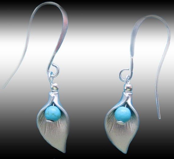 Teal Blue Natural Turquoise Gems And Silver Plated Calla Lilies Dangle Earrings xS