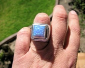 Huge chunky sterling silver opal ring