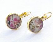 orchids earrings, gold earrings, spring, flowers, round earrings, FREE SHIPPING