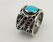 Hadar Jewelry Handcrafted 9K Gold Sterling Silver Opal Ring size 8 (s 100)