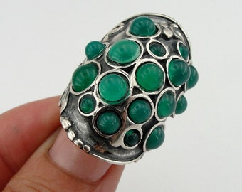 Hadar  Handcrafted Sterling Silver Green Agate Ring size 8.5 (h 166)
