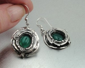 Hadar NEW Israel Long Sterling  Silver Green Agate Earrings (H 256)y