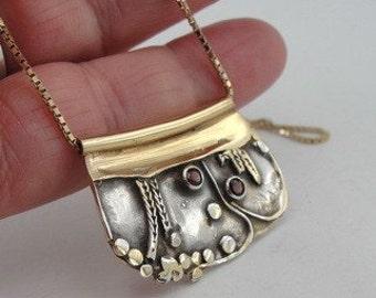 Hadar Handmade Unique Art Silver Gold Garnet Pendant (b 67p)
