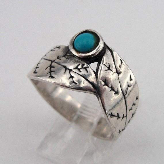 SUPER PRICE - Hadar Sterling Silver leaf Turquoise Ring size 8 (h