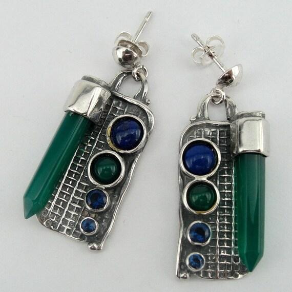 Handmade Art Sterling Silver long Mix Stones Earrings (H)Y