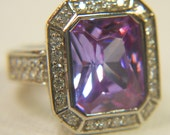 Amethyst and CZ Silver 925 Ring 1980s