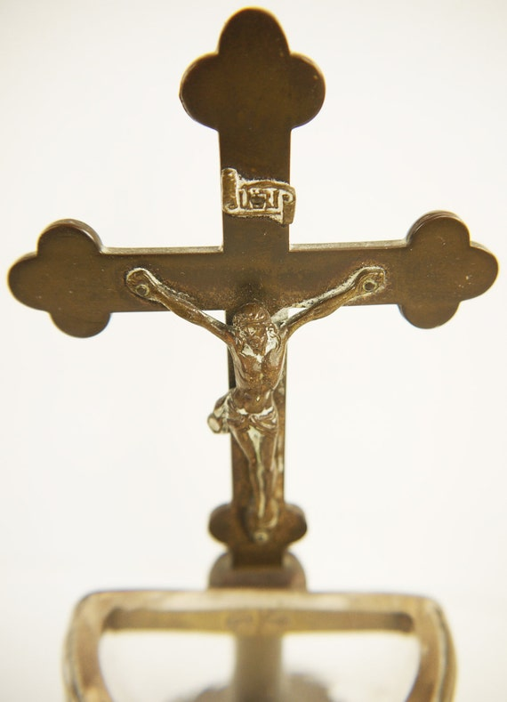 Vintage French Bronze Standing Crucifix and Glass Font 1930s
