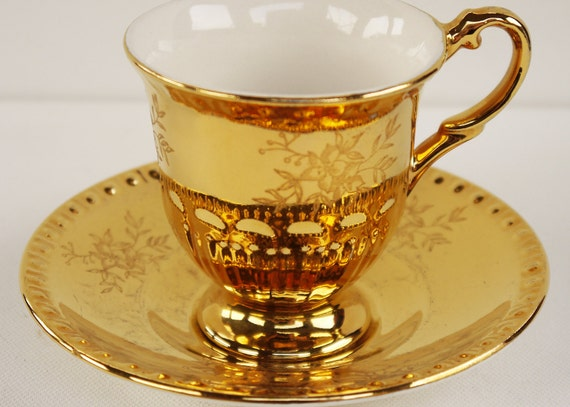 Crown Devon Duo Art Deco 1930s Gilt Cup and Saucer