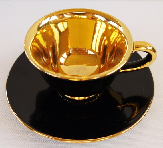 Italian Coffee Cup Gilt and Black