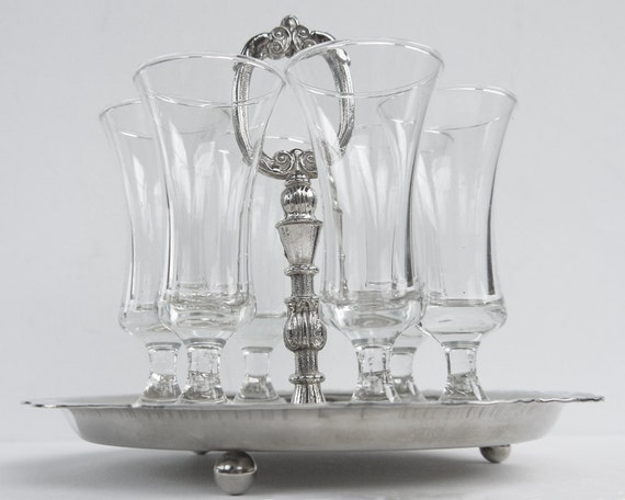 1950s Sherry Glasses and Tray Silver Plated Made By Abrahams & Co BRAMA, Birmingham, England
