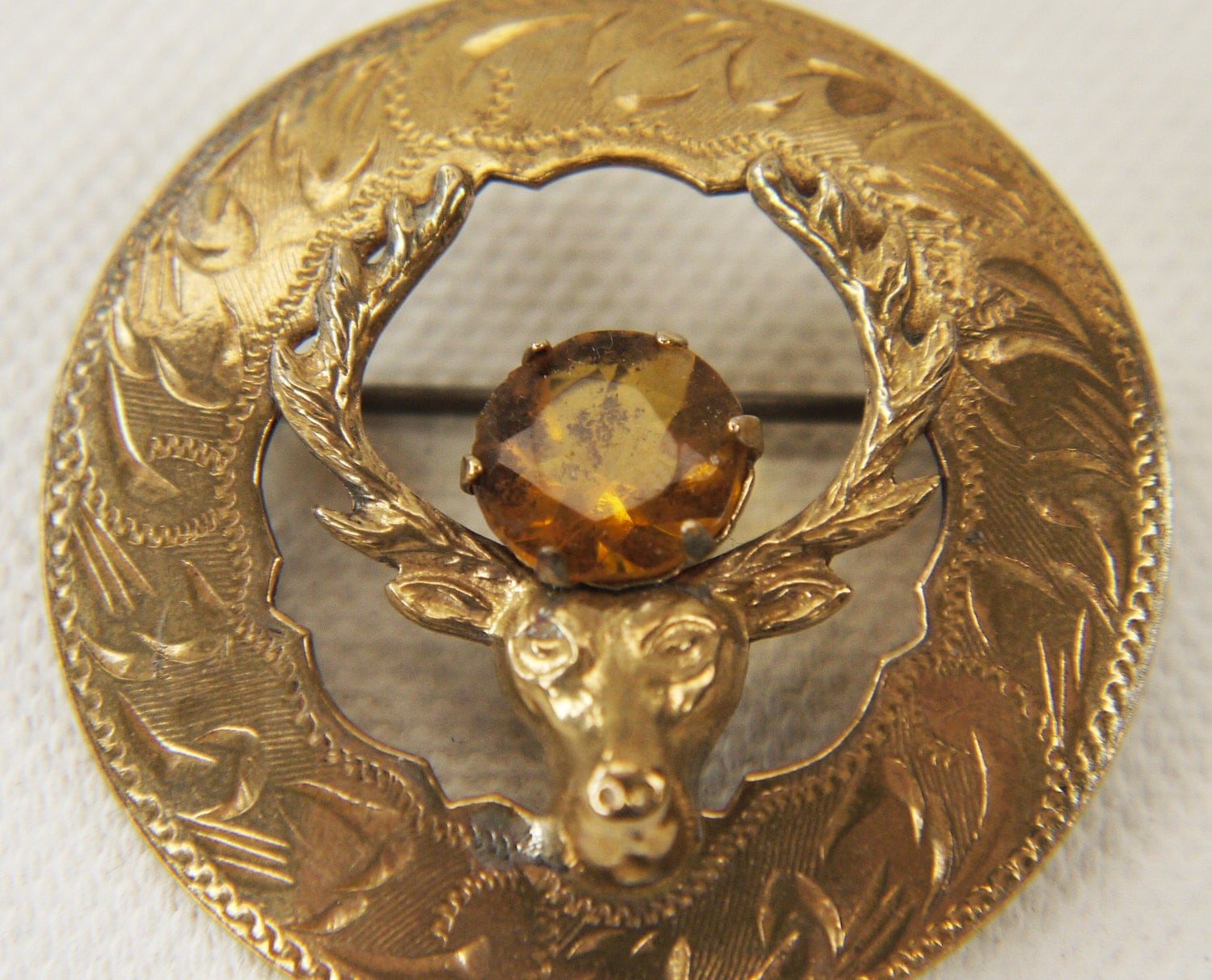 Stag Brooch With Faceted Cairngorm Stone 1950s Scotland By