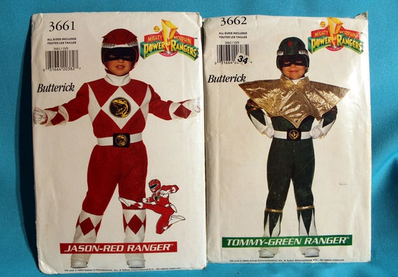 Pair of Out-of-Print Power Ranger Costume Patterns