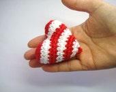 Red White Striped Crochet Heart - Gift Idea or Home Decor