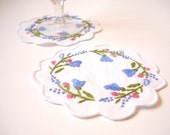 Hand Stitched Embroidery Coasters, 100% Cotton Coasters, Home decor, Set of 2, Valentine day gifts, Blue Flowers