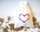 Lavender Sachet, Handmade Embroidery Pouch, Hand stitched Heart, Cotton Bag,  Pink Heart