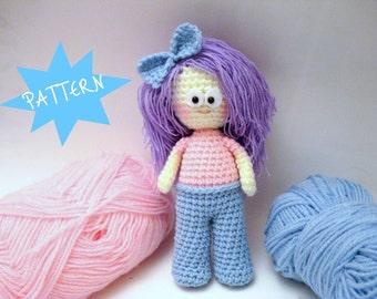 Crochet Pattern, Amigurumi Doll Pattern, Amigurumi Girl Pattern, PDF Amigurumi, Crochet Pattern, Instant Download, Crochet Tutorial