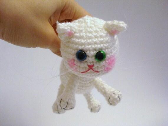 Amigurumi Cat, Crochet Cat, Kitten, Art Doll, White Cat