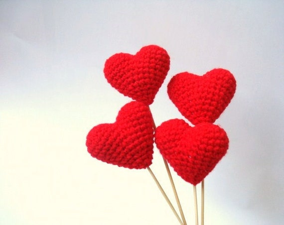 Wedding Cake Topper, Crochet Red Hearts (Set of 4) Cake Topper, Valentines