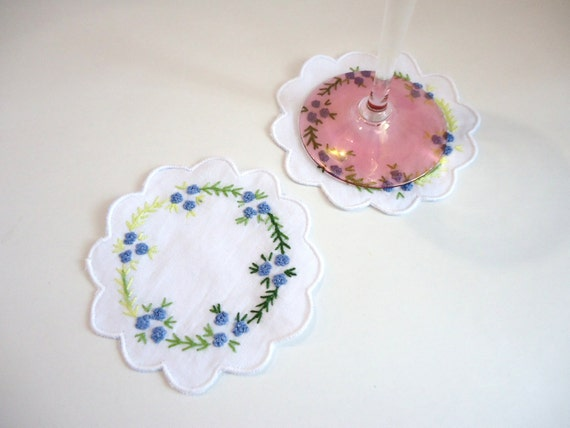 Hand Stitched Embroidery Coasters, 100% Cotton Coasters, Home decor, Set of 2,  Blue Flowers
