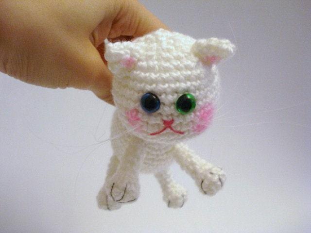 Crochet Amigurumi Kitty : Amigurumi Cat Crochet Cat Kitten Art Doll White Cat